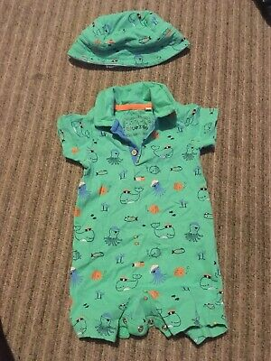 Bluezoo Baby Boys/' Turquoise Safari Print Romper Suit And Hat