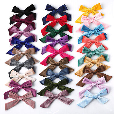 Kids Girl Velvet Bow Hair Clip Solid Hairpin Alligator Clip Hair Accessories New