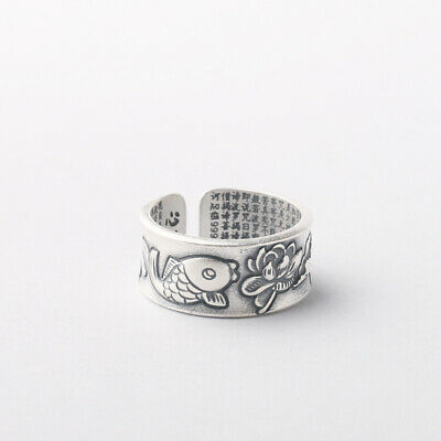 925 Sterling Silver Men Women Buddhism Lotus Fish Heart Sutra Ring A3524