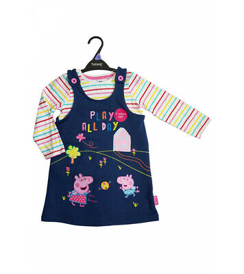 Peppa Pig girls denim Pinafore outfit cotton long sleeve top set