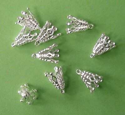 20 x 13mm silver plated 7-prong 'filigree' bell caps, findings for jewellery