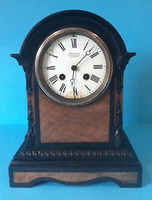 Quality Victorian Walnut And Ebony Mantel Clock -J W Benson Ludgate Hill London