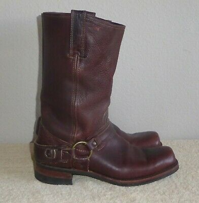 Vintage Frye Brown Leather Boots Size 10.5 Mens Double Harness Square Toe