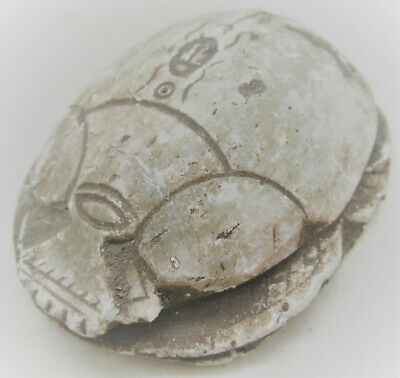 Large & Impressive Glazed Faience Scarab With Heiroglyphics Very Nice