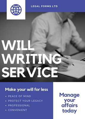 Online Will Writing Service. DIY WILL KIT. LAST WILL AND TESTAMENT. Professional