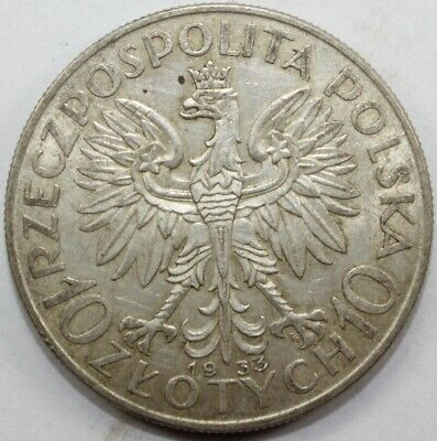 Poland. 1933 Silver 10 Zlotych, good Extremely Fine