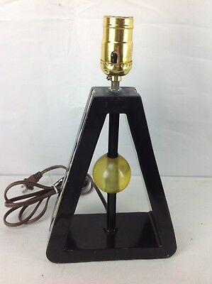 Vintage Black Triangle Lucite Ball Electric Mid Century Mod Retro Table Lamp