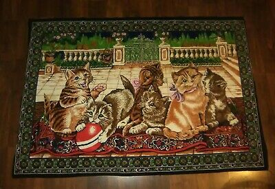 "Vintage Cats Kitten Large Big TAPESTRY WALL HANGING Rug Velvet Flannel 36"" x 52"""