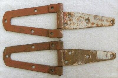 """2 Vintage Old Red-White Paint, Cut Out, Barn, Shed, Cabin Door 11"""" Strap Hinges"""