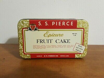 Antique Vintage Advertising Tin S.S. Pierce Epicure Fruit Cake
