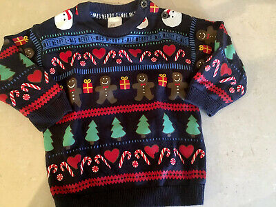 H & M Baby Boy Or Girl Christmas Jumper Sweater Size 000 00 100% Cotton