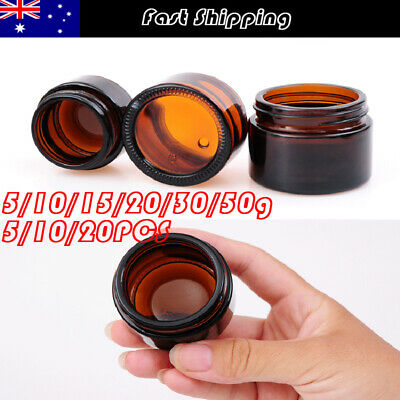 5-50g Amber Glass Jars Containers Cosmetic Cream Lotion Pots Travel Cases