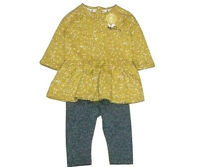 NEXT GIRLS' Ochre Tunic And Legging Set 6-9 Months Fast Shipping UK Seller