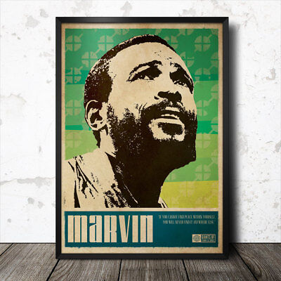 MARVIN GAYE MOTOWN SOUL ART PRINT POSTER OIL PAINTING LFF0118