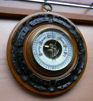 Antique Victorian Carved Hardwood Aneroid Wall Barometer 7.5 Inches Diameter GWO
