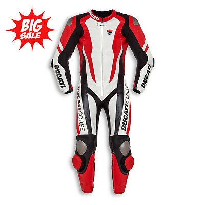 New Motorcycle Ducati Corse K1 Cowhide leather suit CE Armour Motorbike MotoGP