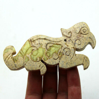 """V746 Ancient Chinese Han Dynasty Old Jade Hand Carved Beast Amulet Pendant 4.8"""""""