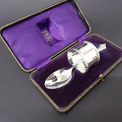 Cased Solid Sterling Silver Christening Spoon & Napkin Presentable Condition
