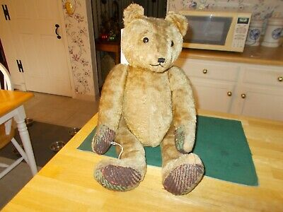 Large Size German Teddy Bear From Early 1900S Fully Jointed Shoe Button Eyes