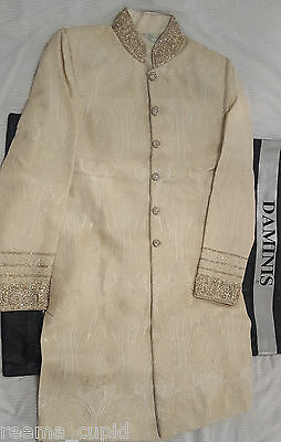 Daminis Mens Groom Wedding Sherwani Small Used 40 indian pakistani Indian khaadi