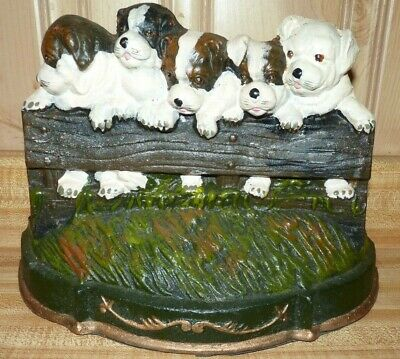 """Adorable Dog Themed """"5 Puppies On A Fence"""" Solid Cast Iron Painted Doorstop"""