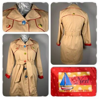 Next Girls Trench Coat Jacket Beige Belted Fun Buttons Size 11 - 12 Years
