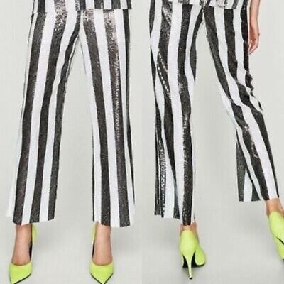 Black White Striped ZARA S 8 Trousers Sequins Party Disco Blogger's Fav Evening