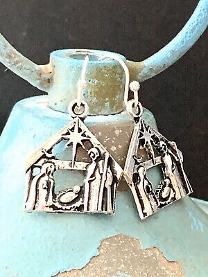 Beautiful Etched Antique Silver Christmas Manger Nativity Scene Dangle Earrings.