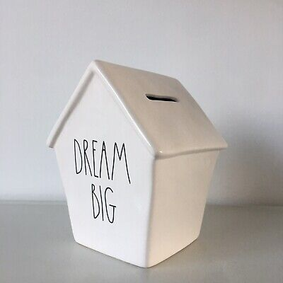 NEW Rae Dunn DREAM BIG LL Large Letter Birdhouse Shaped Ceramic Piggy Coin Bank