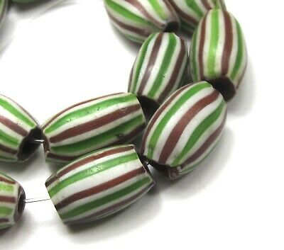 12  Striped Oval Venetian Melon Chevron W/Clear Core African Trade Beads