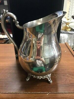 "Vintage FB Rogers Silver Co Silver Plated Footed Lipped Water Pitcher 9"" Tall"