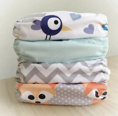 4 Alva Baby Pocket Nappies with 3-LAYER Microfibre Inserts  included