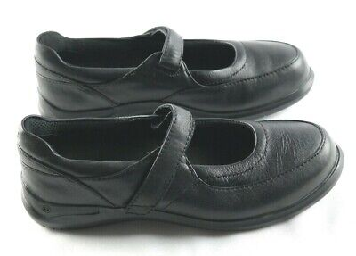 Aravon Mary Janes Womens Size 6.5 Black Leather Slip On Comfort Shoes P2