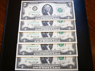 United States $2.00 Consecutive 1976 Series Banknotes UNC (x5)