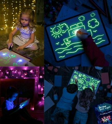 PVC Draw With Light In Darkness Child Sketchpad Toys Luminous Drawing Board E