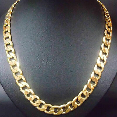 "Real 18k yellow gold filled mens necklace 24"" Chain Set Christmas Gift 7mm"