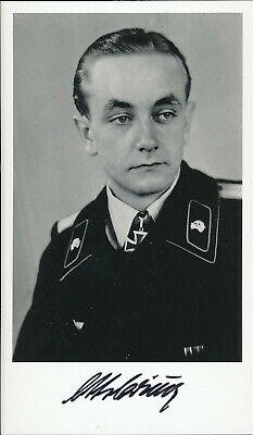 Otto Carius signed photo. Panzer Oakleaves winner.21st Panzer Rgt. 502nd Heavy..