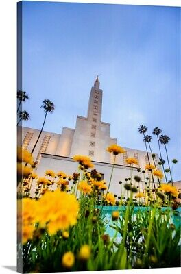 """""""Los Angeles California Temple with Flowers, Los Angeles, California"""" Canvas"""