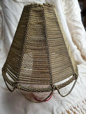 """MCM Brutalist layered metal chain Lamp Shade unique arts crafts 5.5"""" Table Lamp"""