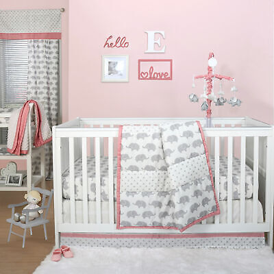 Grey Elephant and Triangle Dot 3 Piece Baby Crib Bedding Set with Coral Pink