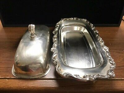 Silverplate Butter Cover Dish With Glass Tray Insert Kitchen Decor Ornate
