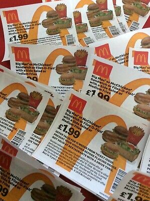 60 McDonalds Meal Tickets - Pay only £1.99 for meal - No expiry date