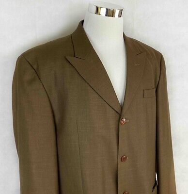 Stacy Adams Mens Four Button Suit Jacket Brown Single-Breasted Lined Tall 44L
