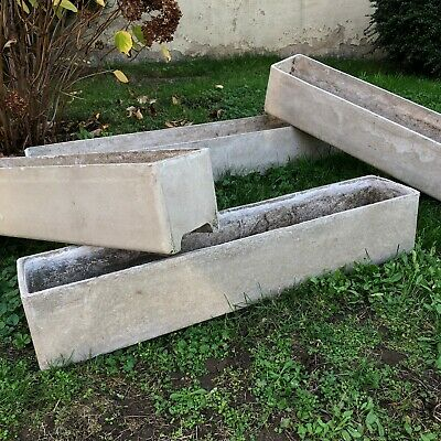 FOUR XL WILLY GUHL Concrete Outdoor Rectangular Planter Swiss Mid Century Cement