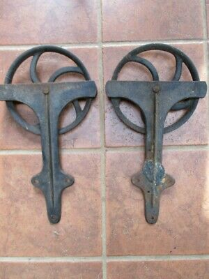 "Vintage Pair,SLIDING BARN DOOR HARDWARE, 2 Iron ROLLERS & HINGES, 9 3/4""Diam."