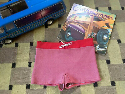Vintage 50s Swim Suit Trunks Kings Road 28 - 38 Two Tone Red White Rockabilly