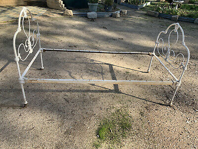 Antique Cast Iron Single Bed - White