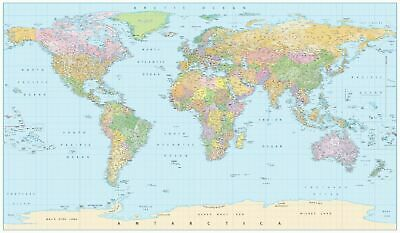 Extra Large World map poster 1200x840mm with all city names waterproof UV Coated