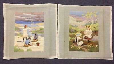 Long Stitch Kits X2 Vintage, Victorian Children, Completed ,Not Framed