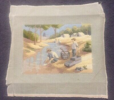 Long Stitch Kit Vintage , Gold Panning, Completed , Not Framed